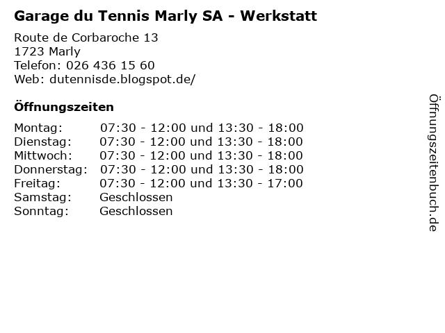 Garage du Tennis Marly SA - Werkstatt in Marly: Adresse und Öffnungszeiten