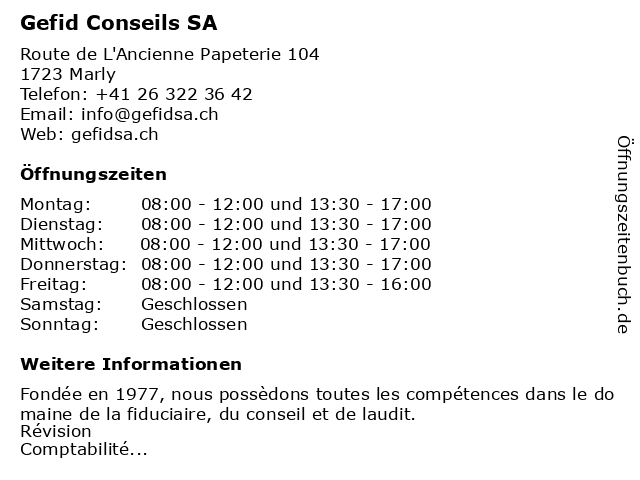 Gefid Conseils SA in Marly: Adresse und Öffnungszeiten
