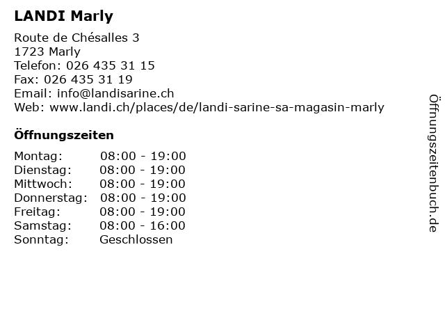 LANDI Marly in Marly: Adresse und Öffnungszeiten