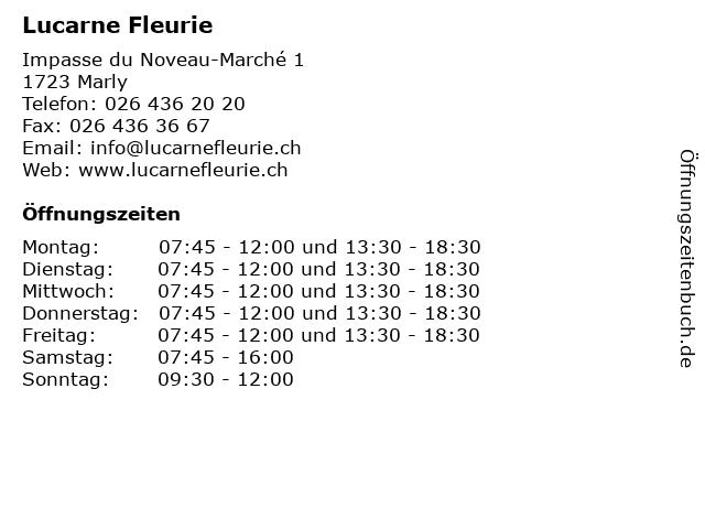 Lucarne Fleurie in Marly: Adresse und Öffnungszeiten