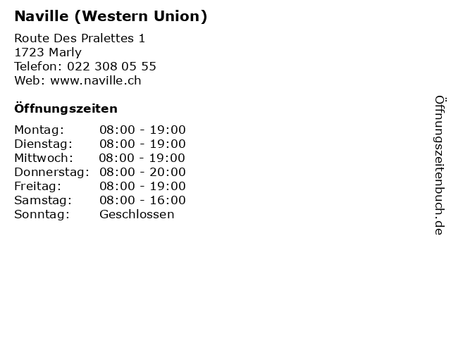 Naville (Western Union) in Marly: Adresse und Öffnungszeiten