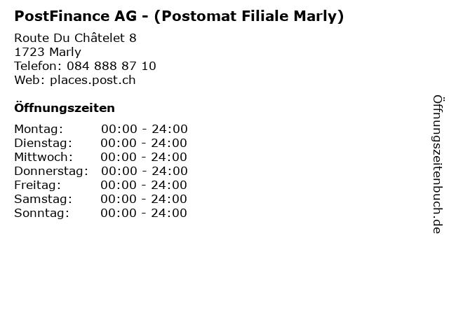 PostFinance AG - (Postomat Filiale Marly) in Marly: Adresse und Öffnungszeiten