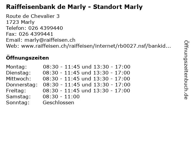 Raiffeisenbank de Marly - Standort Marly in Marly: Adresse und Öffnungszeiten