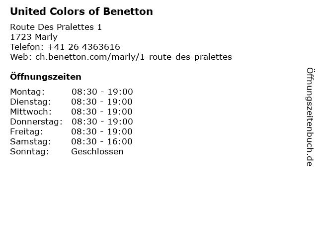 United Colors of Benetton in Marly: Adresse und Öffnungszeiten