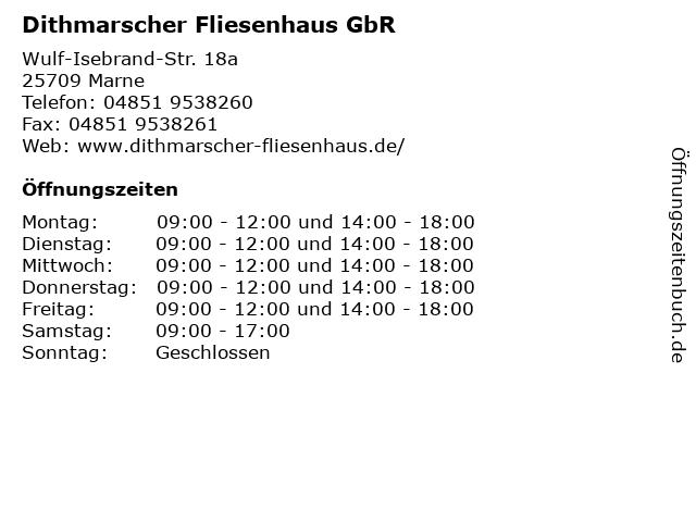 Dithmarscher Fliesenhaus GbR in Marne: Adresse und Öffnungszeiten