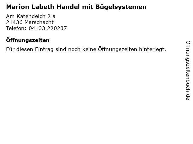 Marion Labeth Handel mit Bügelsystemen in Marschacht: Adresse und Öffnungszeiten