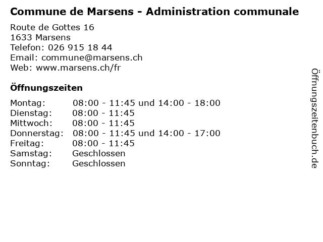 Commune de Marsens - Administration communale in Marsens: Adresse und Öffnungszeiten