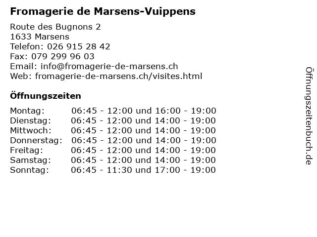 Fromagerie de Marsens-Vuippens in Marsens: Adresse und Öffnungszeiten