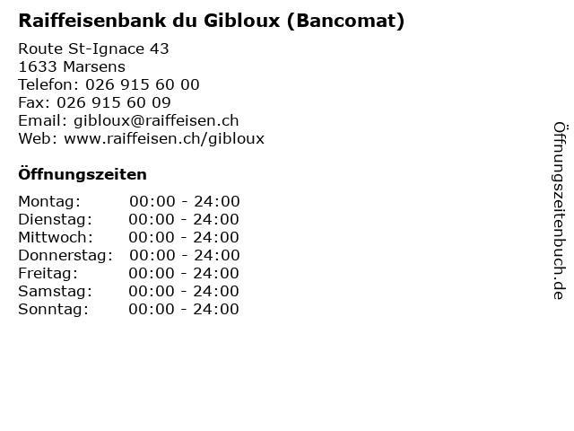 Raiffeisenbank du Gibloux (Bancomat) in Marsens: Adresse und Öffnungszeiten
