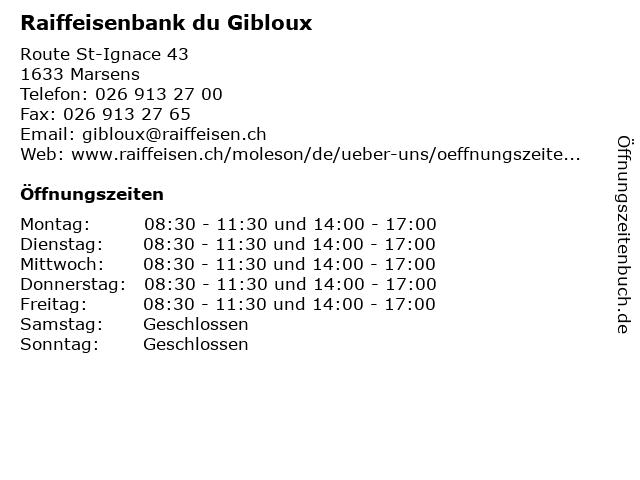 Raiffeisenbank du Gibloux in Marsens: Adresse und Öffnungszeiten