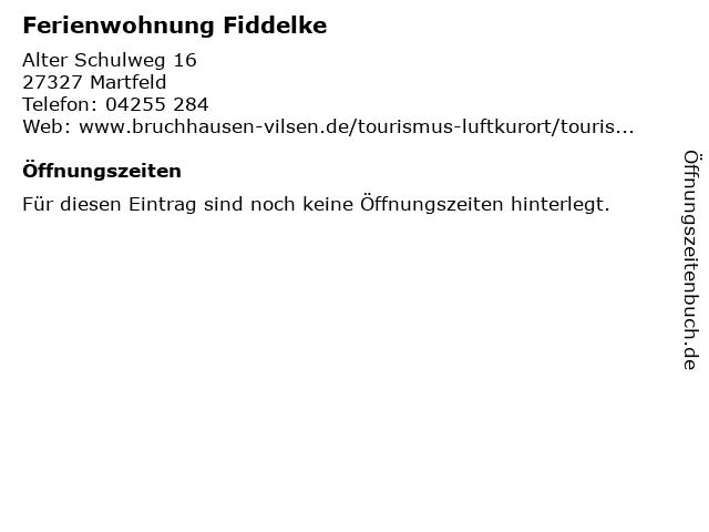 Ferienwohnung Fiddelke in Martfeld: Adresse und Öffnungszeiten
