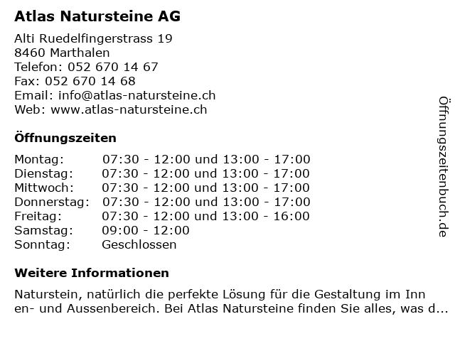 Atlas Natursteine AG in Marthalen: Adresse und Öffnungszeiten