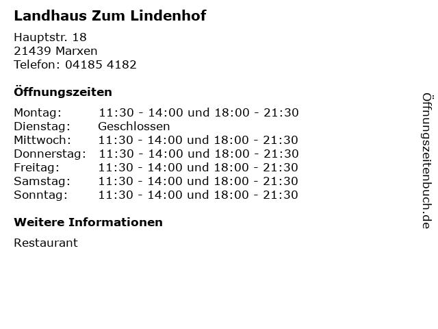 Landhaus Zum Lindenhof in Marxen: Adresse und Öffnungszeiten