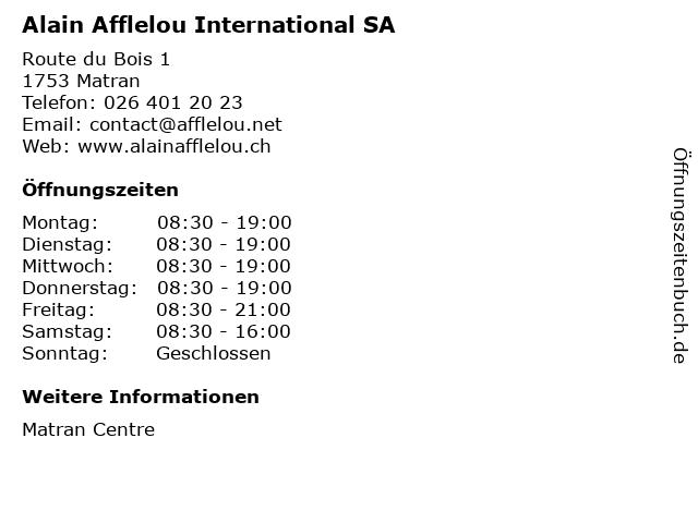 Alain Afflelou International SA in Matran: Adresse und Öffnungszeiten