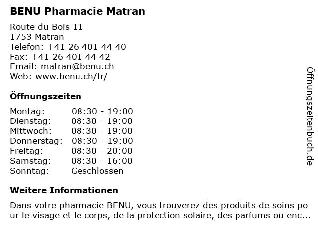BENU Pharmacie Matran in Matran: Adresse und Öffnungszeiten