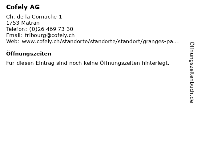 Cofely AG in Matran: Adresse und Öffnungszeiten