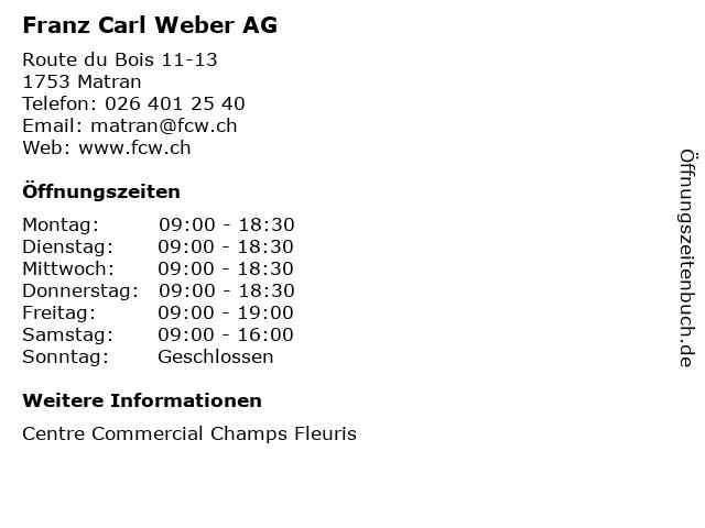 Franz Carl Weber AG in Matran: Adresse und Öffnungszeiten