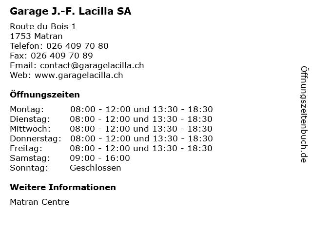 Garage J.-F. Lacilla SA in Matran: Adresse und Öffnungszeiten
