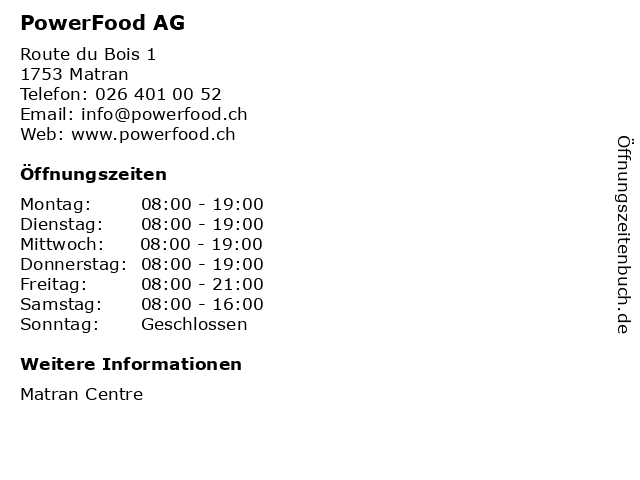 PowerFood AG in Matran: Adresse und Öffnungszeiten