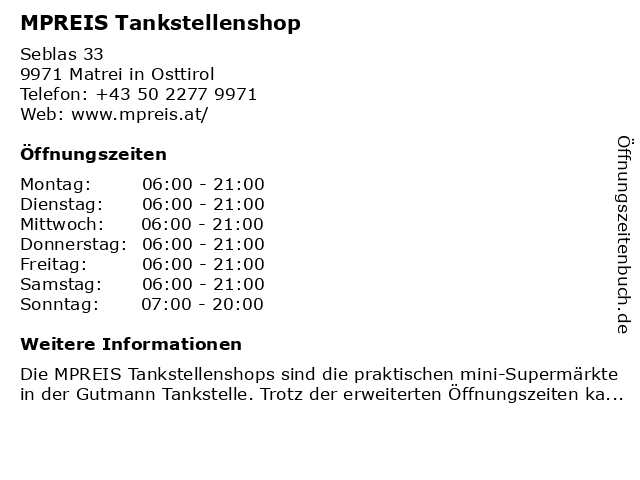 MPREIS Tankstellenshop in Matrei in Osttirol: Adresse und Öffnungszeiten