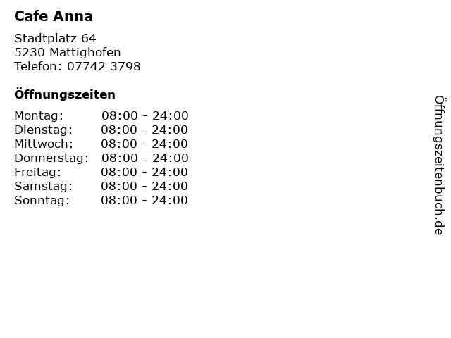 Cafe Anna in Mattighofen: Adresse und Öffnungszeiten