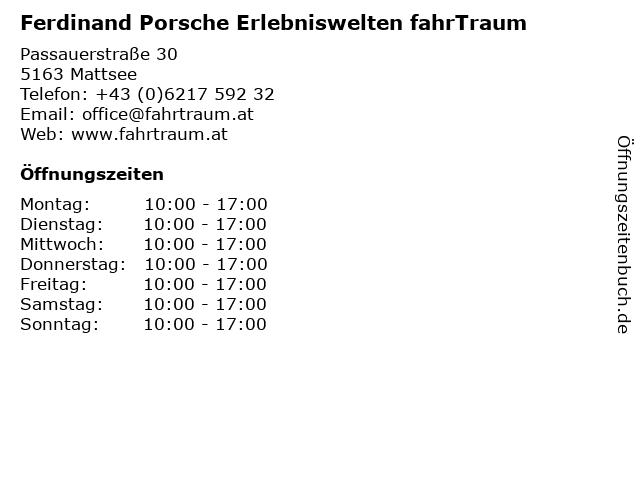 Ferdinand Porsche Erlebniswelten fahrTraum in Mattsee: Adresse und Öffnungszeiten