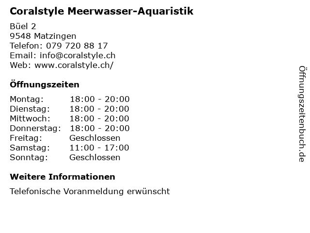 Coralstyle Meerwasser-Aquaristik in Matzingen: Adresse und Öffnungszeiten