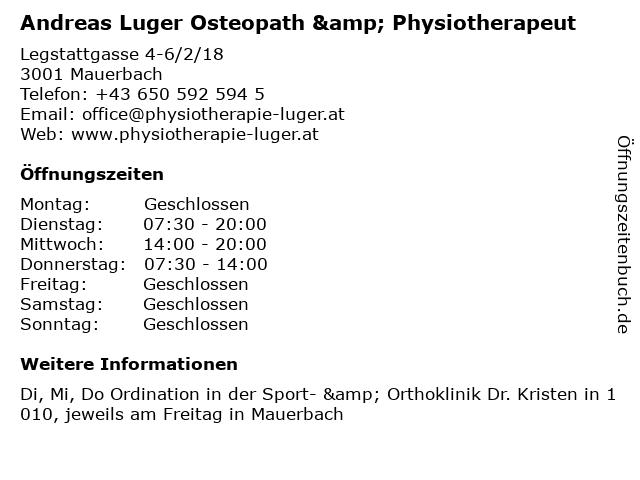 Andreas Luger Osteopath & Physiotherapeut in Mauerbach: Adresse und Öffnungszeiten