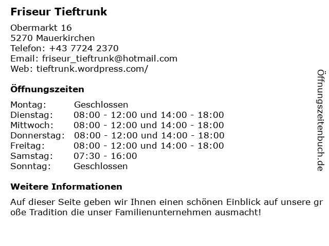 Friseur Tieftrunk - Karin Kasinger in Mauerkirchen: Adresse und Öffnungszeiten