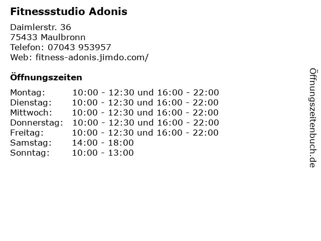 Fitnessstudio Adonis in Maulbronn: Adresse und Öffnungszeiten
