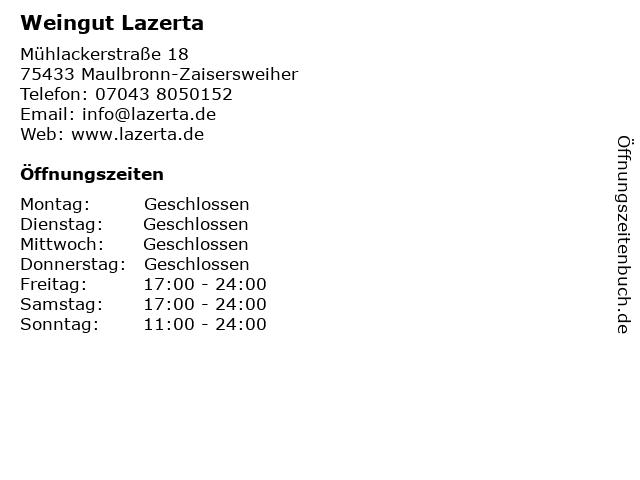 Weingut Lazerta in Maulbronn-Zaisersweiher: Adresse und Öffnungszeiten