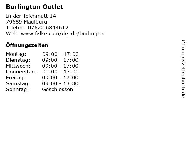 Burlington Outlet in Maulburg: Adresse und Öffnungszeiten