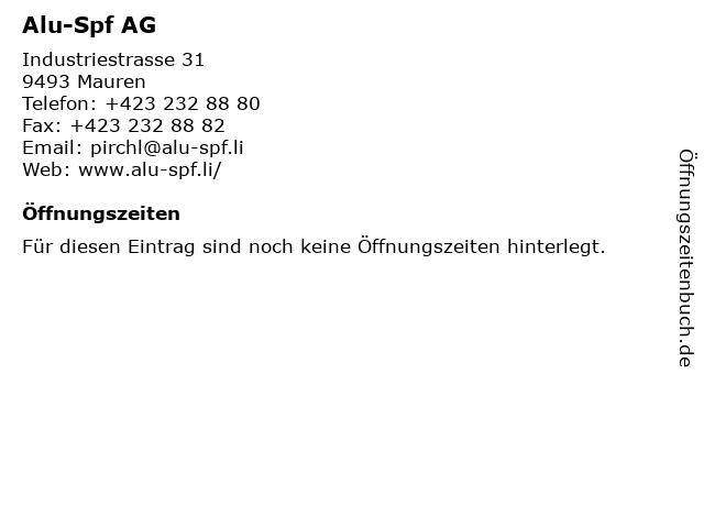 Alu-Spf AG in Mauren: Adresse und Öffnungszeiten