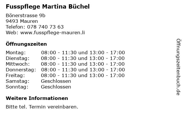 Fusspflege Martina Büchel in Mauren: Adresse und Öffnungszeiten
