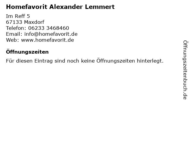 Homefavorit Alexander Lemmert in Maxdorf: Adresse und Öffnungszeiten