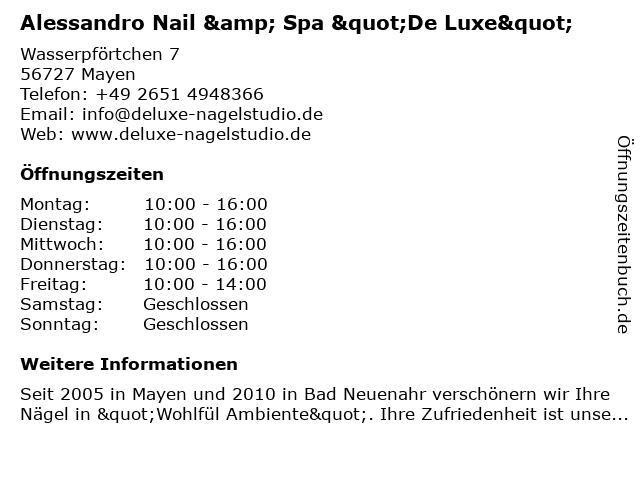 ᐅ öffnungszeiten Nail Spa De Luxe Wasserpförtchen 7 In Mayen