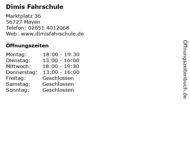 Dimis Fahrschule in Mayen: Adresse und Öffnungszeiten