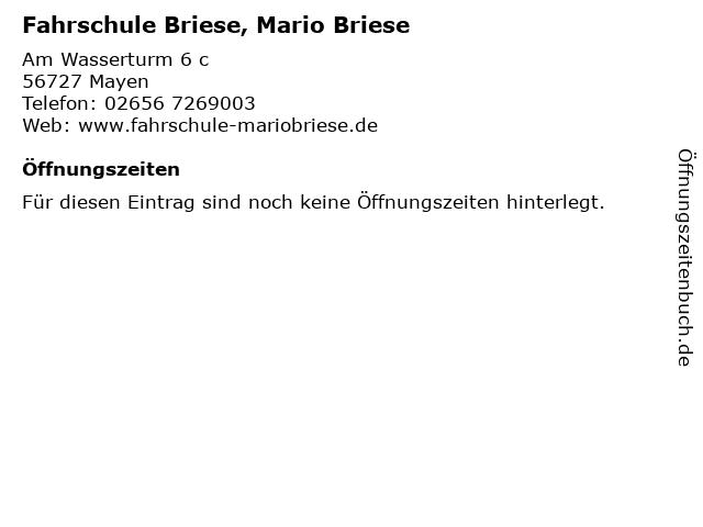 Fahrschule Briese, Mario Briese in Mayen: Adresse und Öffnungszeiten