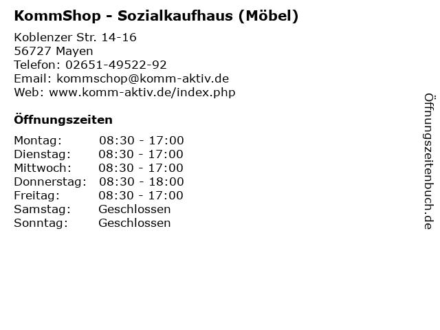 ᐅ öffnungszeiten Kommshop Sozialkaufhaus Möbel Koblenzer
