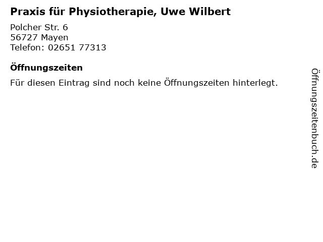 Praxis für Physiotherapie, Uwe Wilbert in Mayen: Adresse und Öffnungszeiten