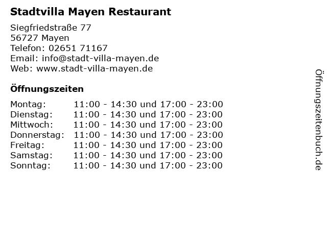 Stadtvilla Mayen Restaurant in Mayen: Adresse und Öffnungszeiten