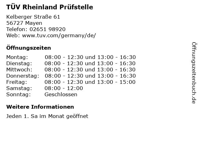 TÜV Rheinland Prüfstelle in Mayen: Adresse und Öffnungszeiten