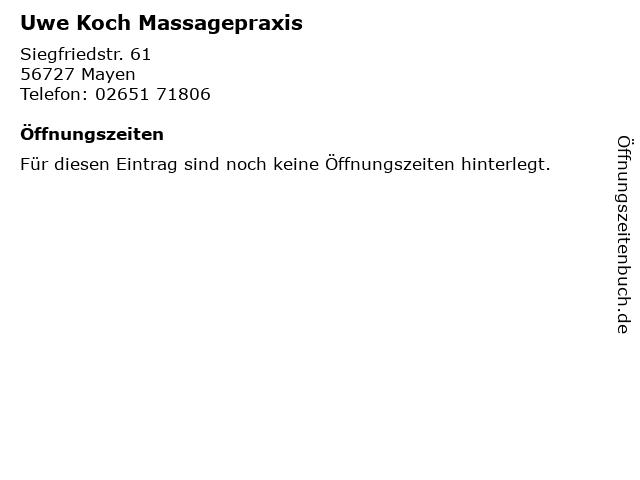 Uwe Koch Massagepraxis in Mayen: Adresse und Öffnungszeiten