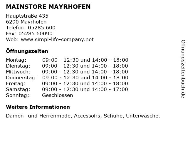 MAINSTORE MAYRHOFEN in Mayrhofen: Adresse und Öffnungszeiten