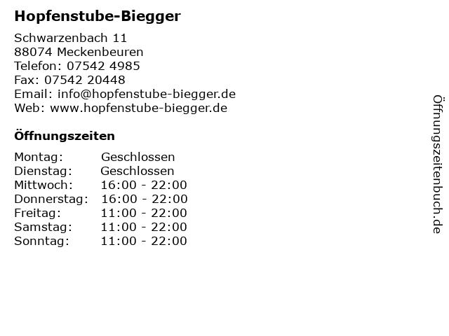 Hopfenstube-Biegger in Meckenbeuren: Adresse und Öffnungszeiten
