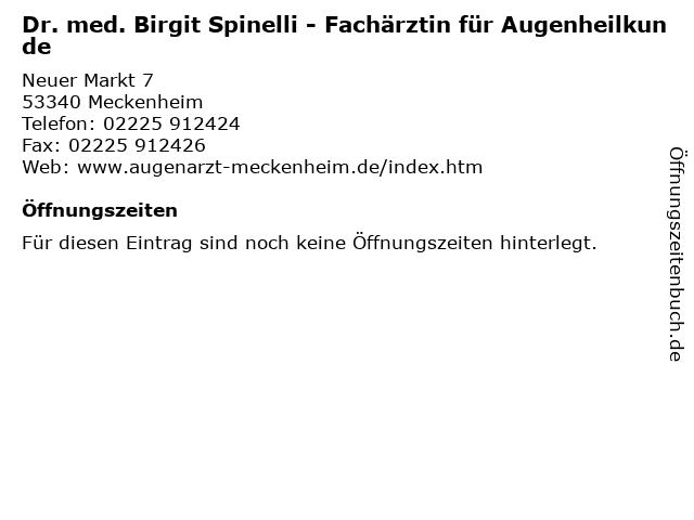 Augenärztin Doktor Birgit Spinelli in Meckenheim: Adresse und Öffnungszeiten