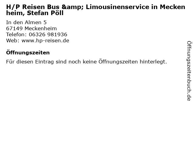 H/P Reisen Bus & Limousinenservice in Meckenheim, Stefan Pöll in Meckenheim: Adresse und Öffnungszeiten