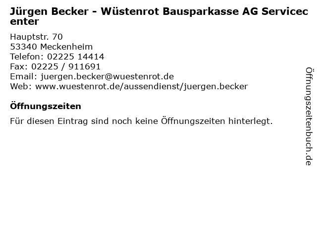 Jürgen Becker - Wüstenrot Bausparkasse AG Servicecenter in Meckenheim: Adresse und Öffnungszeiten