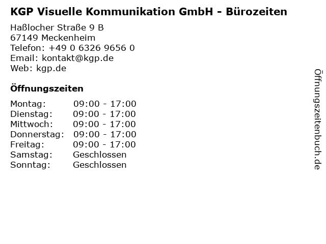 KGP Visuelle Kommunikation GmbH - Bürozeiten in Meckenheim: Adresse und Öffnungszeiten