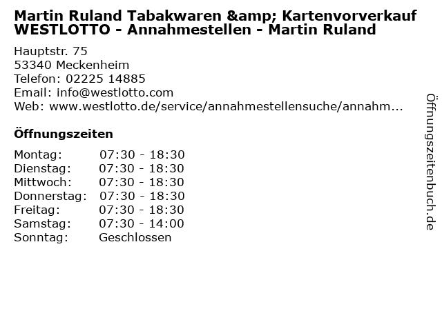 Martin Ruland Tabakwaren & Kartenvorverkauf WESTLOTTO - Annahmestellen - Martin Ruland in Meckenheim: Adresse und Öffnungszeiten